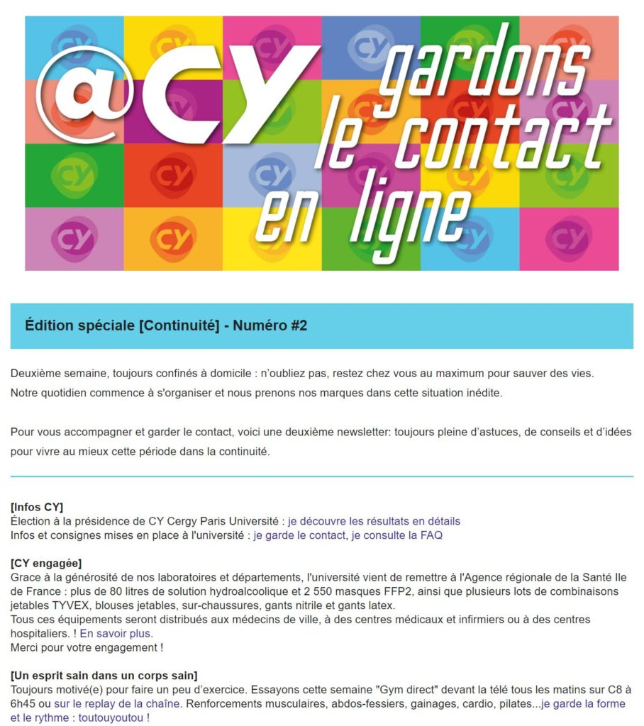 newsletter CY universite